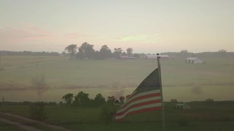 Drone Video of American Flag at Sunset