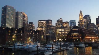 Boston At Night Viewed From Boat