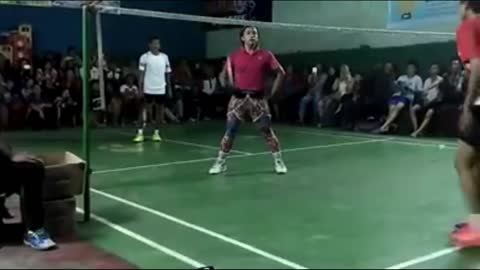 Playing badminton with flashing shoes [part 3]