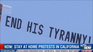 Sacramento Lockdown Protest Flyover - California Governor Gavin Newsom Portrayed As Hitler