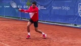 Novak Djokovic training backhand