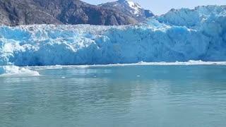 Massive Glacier Calving creating huge blue ice wall