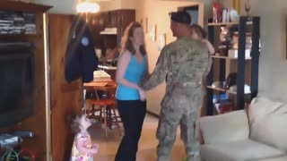 solidier surprises wife after giving birth child