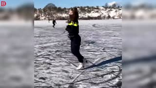 Police does trick on ice skates