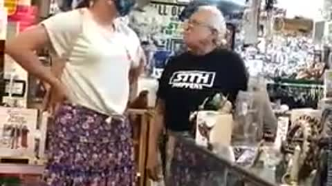 Viral Video: Elderly Aberdeen Star Wars Shop Owner Argues with a Transsexual!
