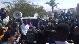 Zandile Gumede outside Durban Commercial Crimes Court
