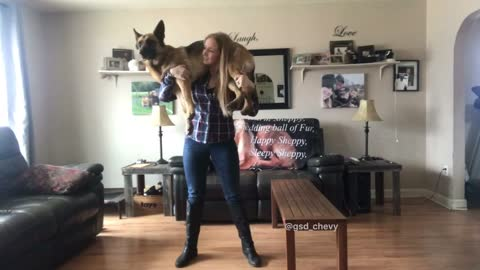 What this woman can do with a 75lb dog on her shoulders will amaze you!