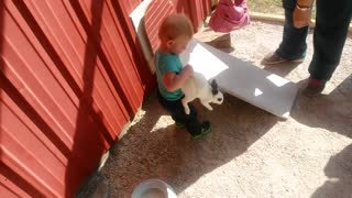 Cute Babies Playing With Animals