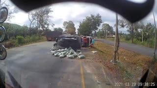 Truck Hauling Load Blows a Tire and Spins Out of Control