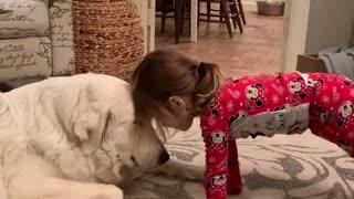 Little girl sweetly bonds with adorable pup