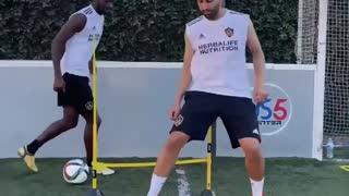 Training skills with LA Galaxy player Augi Williams.