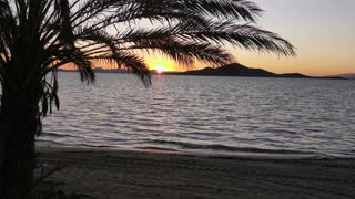 Beautiful sunset Beach with small waves