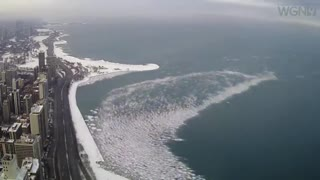 Ice breaking up Lake Michigan