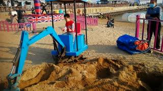 playing near the beach