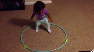 Blasian Baby Sister Plays With Hula Hoop!