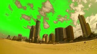 Green Screen Golden Sand Beach