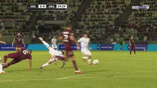 Adrian Martinez sent off for UGLY tackle on Messi
