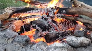 Best fire with water on homemade beach