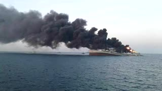 Iran's biggest navy ship sinks after fire