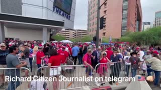Thousands Lined Up waiting to enter Trump Rally in Phoenix