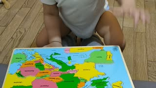 19-month-Old Mastering the Europe Map