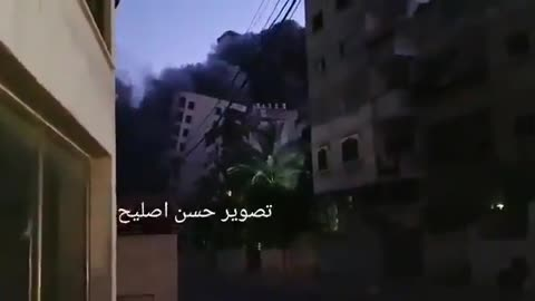 13 story apartment collapses in Gaza.