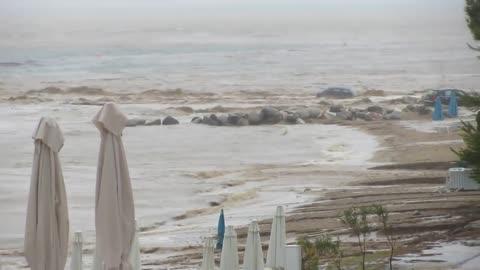 Extreme flooding in Nikiti, Greece causes massive damage