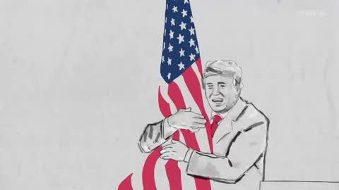 这个速写视频 描述了川普总统对美国和美国人民的热爱