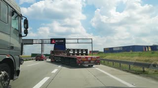 Truck Uses Two Lanes at Once