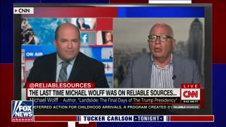 Tucker Carlson reacts to Brian Stelter being 'roasted' by guest on his own show
