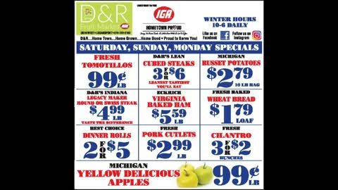 GREAT DNR DEALS FOR SATURDAY SUNDAY AND MONDAY