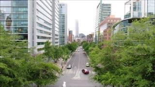 Aerial drone view Las Condes in Santiago, Chile