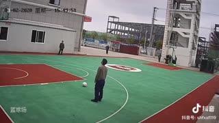 Firemans Incredible Long-Range Kick Into Basketball Net