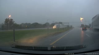Vehicle Hydroplanes, Collides with Cable Barrier