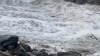 The King tide,Winter storm collide on oregon coast