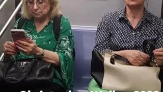 Woman sitting on subway looks like christopher walken