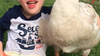 Boy Bonds With His Goose