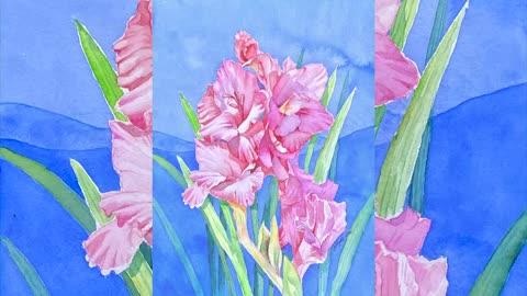 Painting Flowers - Pink Gladiolus