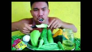 EATING RAW FRESH VEGETABLES ...