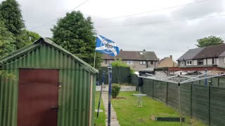 My scottish flag blowing in the wind