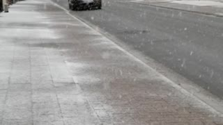 Snowing and street
