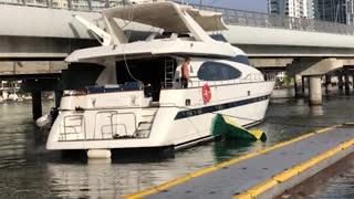 Expensive Boat Gets Stuck Under Bridge