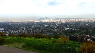 View of Santiago city from San Vincente Hill, Chile
