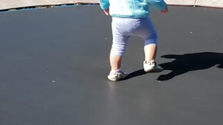 Fun on the Farm - 1 year olds first time on trampoline
