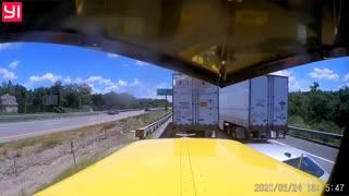 Car Cuts Off Semi Truck