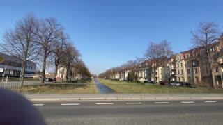 Abandoned houses and Mandau river in Zittau