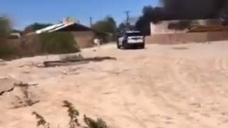Aftermath of a military aircraft crash in northeast Las Vegas.