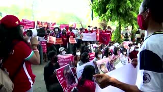Three wounded as Myanmar demonstrators defy junta