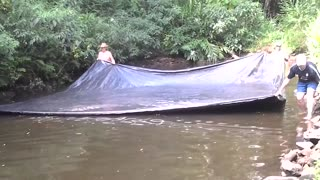 Catching fish in a rare creative way