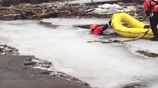 Stranded Dog Rescued from Frozen River